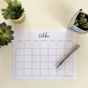 A monthly calendar from October. Calendars and planners are excellent organizational tools that can help reduce stress at work through better planning.