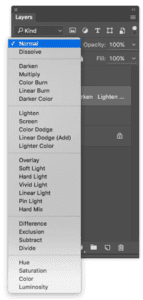 You can find the dropdown menu for blend modes on the right side of photoshop, above the layers, as shown in this screenshot.