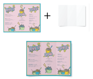 An example of a menu, a folded paper texture, and a mockup applying the folded paper texture to the menu.