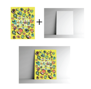A flat poster, a standing poster texture, and a mockup of the flat poster design appearing as a standing poster with the applied texture.