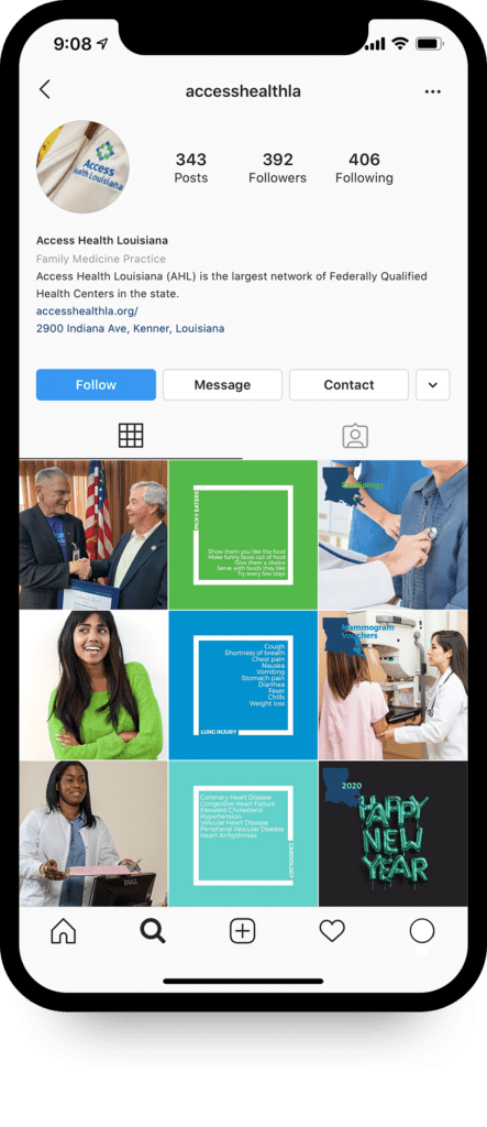 Mockup of Access Health's Instagram grid on iPhone