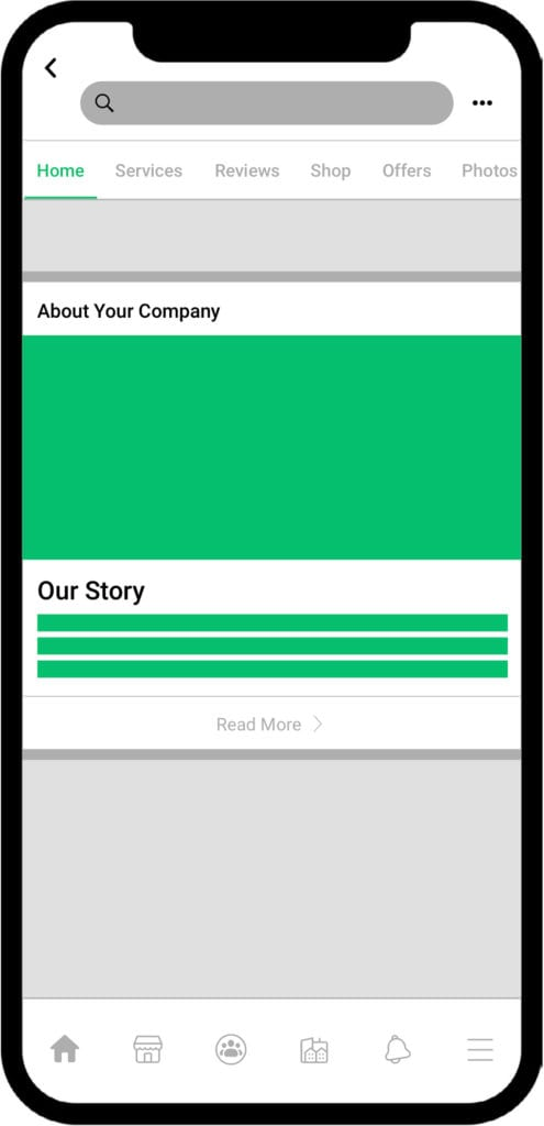 Mockup of Facebook profile page on iPhone X highlighting the Our Story section