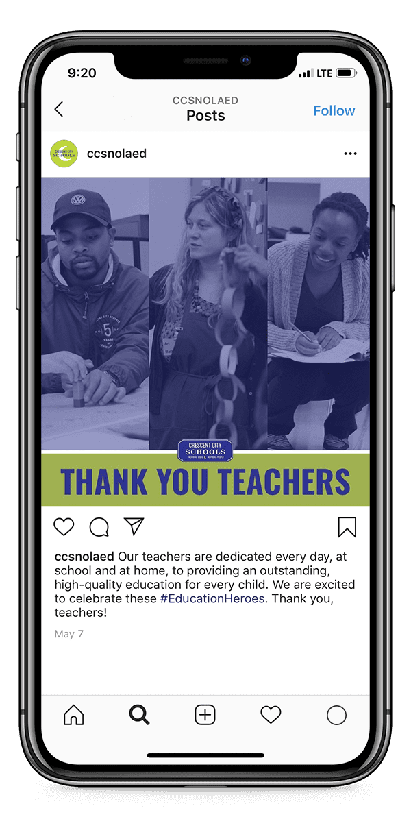 """iPhone displaying a """"Thank You Teachers"""" post from Crescent City Schools' Instagram"""