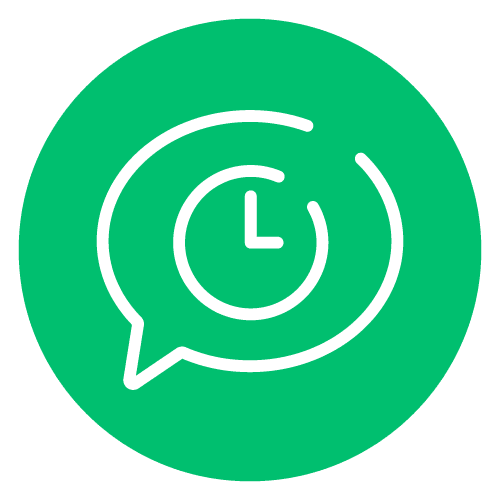 Chat bubble with clock