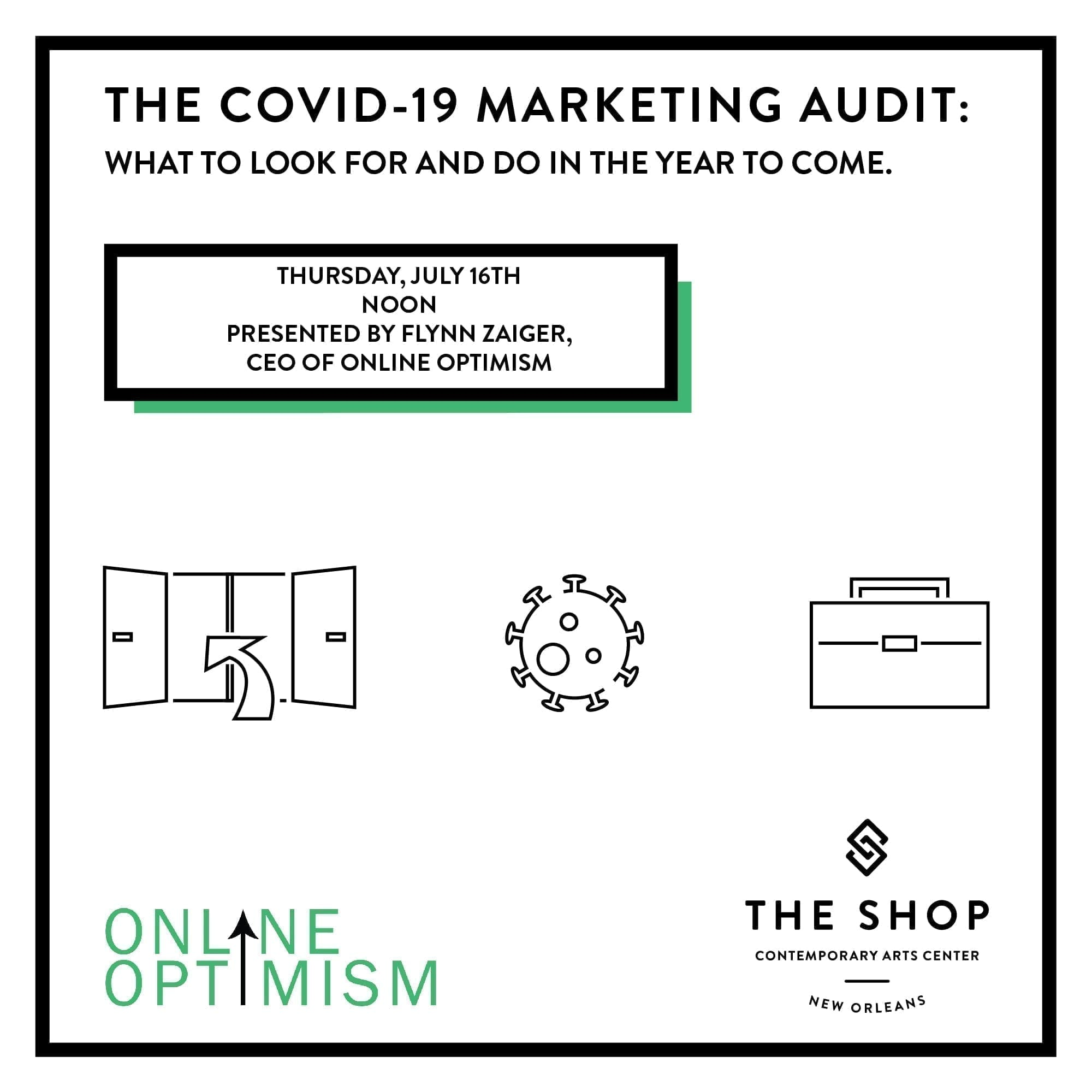 COVID 19 Marketing Audit Graphic Showing Open Doors