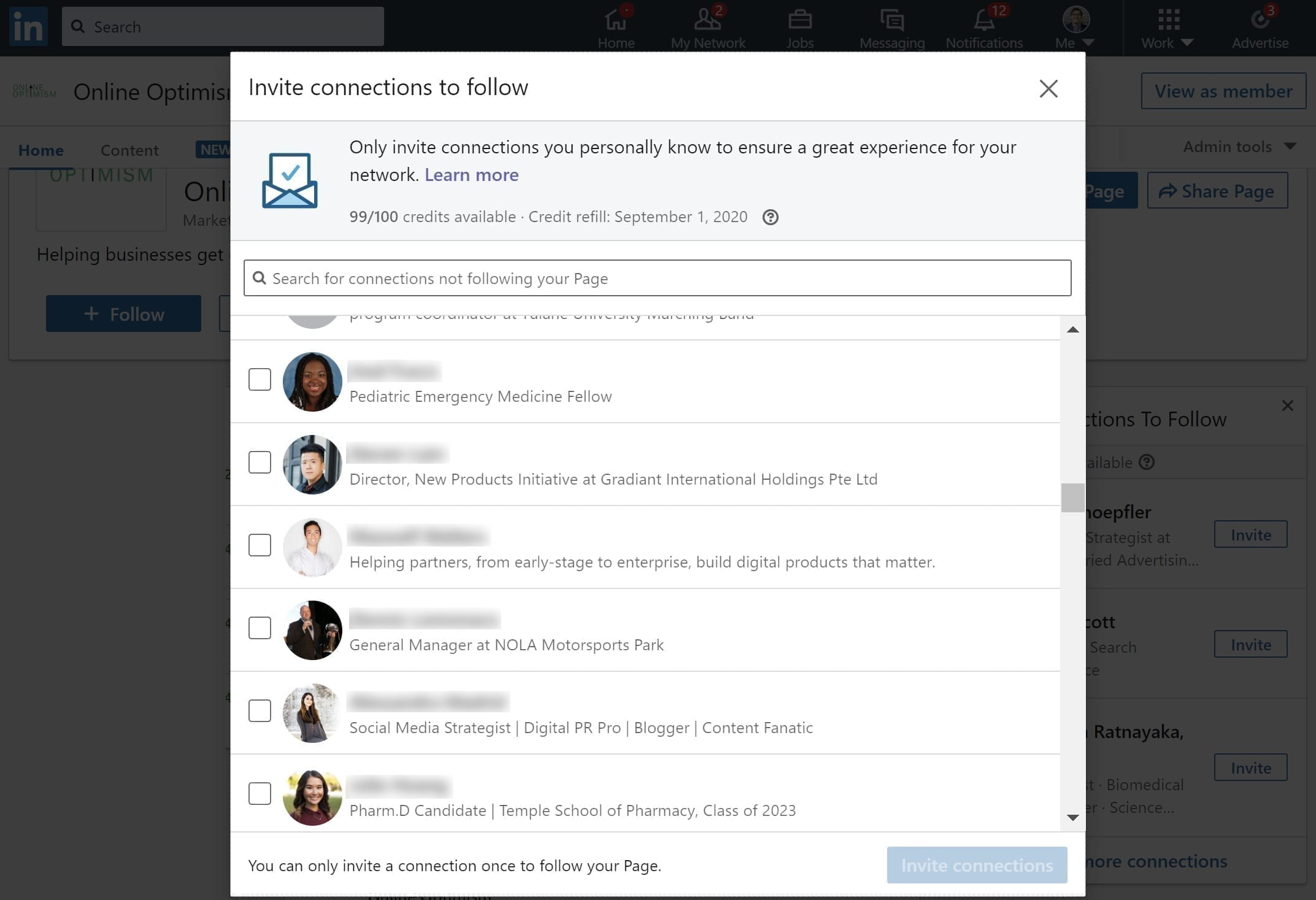 How to Invite Connections from your Personal Account to your Company Page