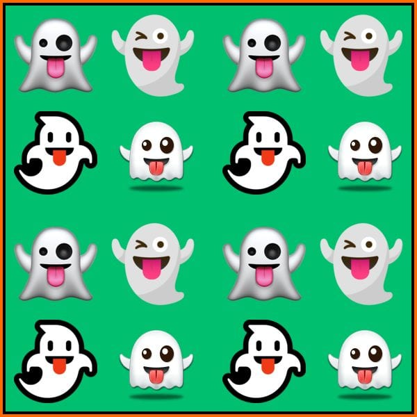 Spooky Ghosts on a Green Background