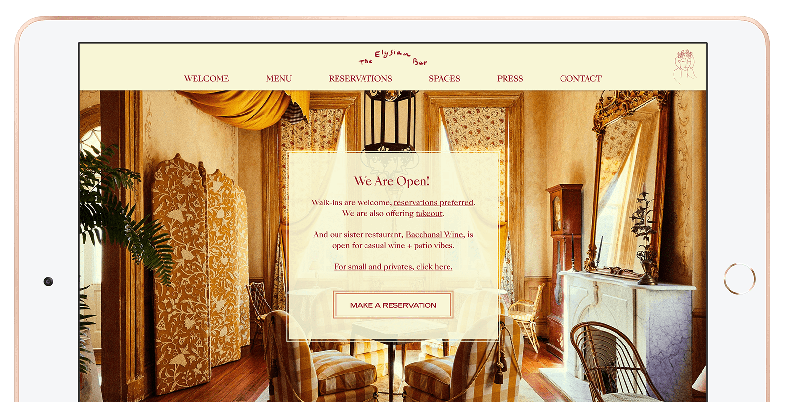 The Elysian Bar's newly designed home page