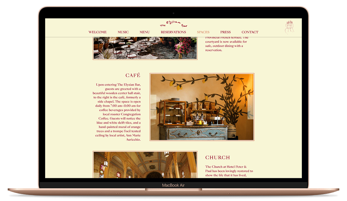 The Elysian Bar's Spaces website page