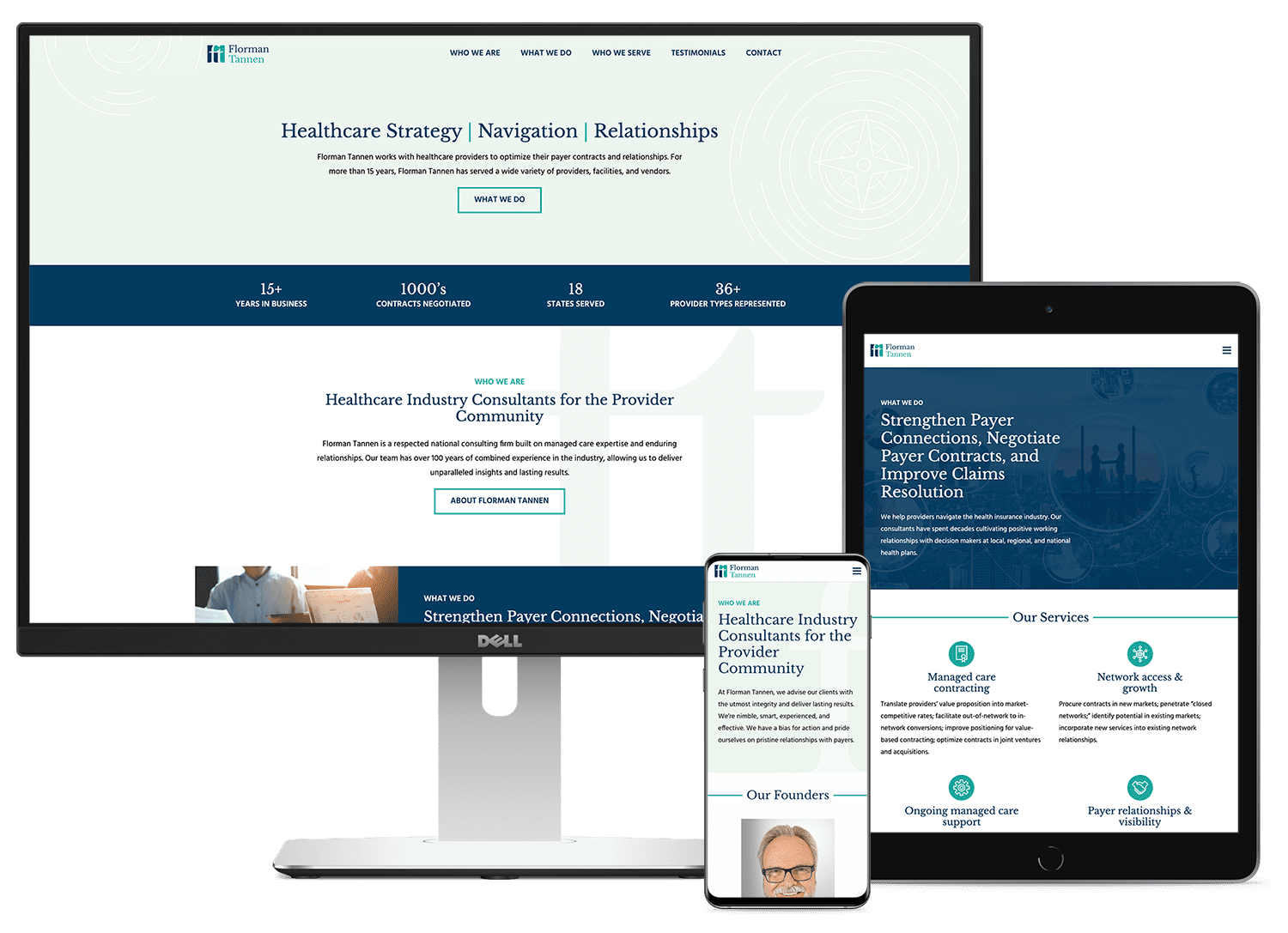 Florman Tannen's new website, mocked up on a computer, tablet, and phone